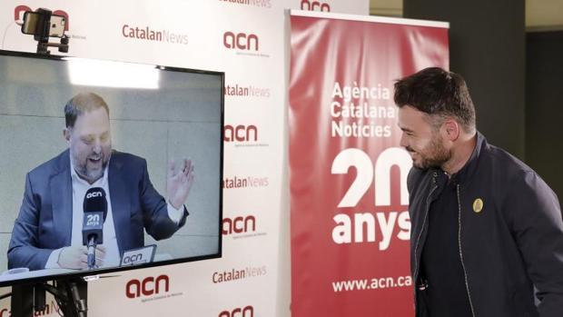 El candidato Junqueras, junto al diputado Rufiàn, en una reciente entrevista desde el centro de Soto del Real