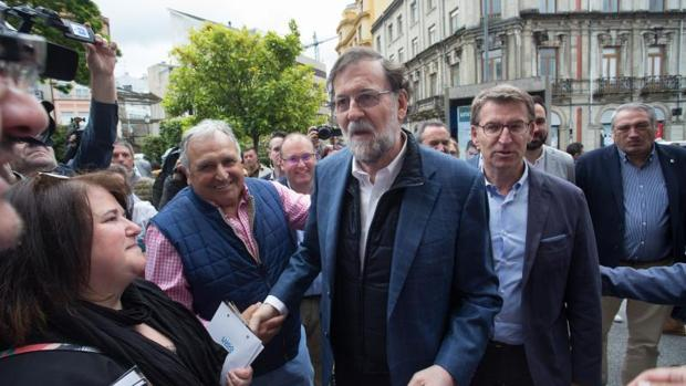 Mariano Rajoy y Alberto Núñez Feijóo, en Lugo