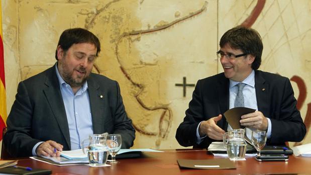 Oriol Junqueras y Carles Puigdemont en 2016, cuando eran vicepresidente y presidente de la Generalitat