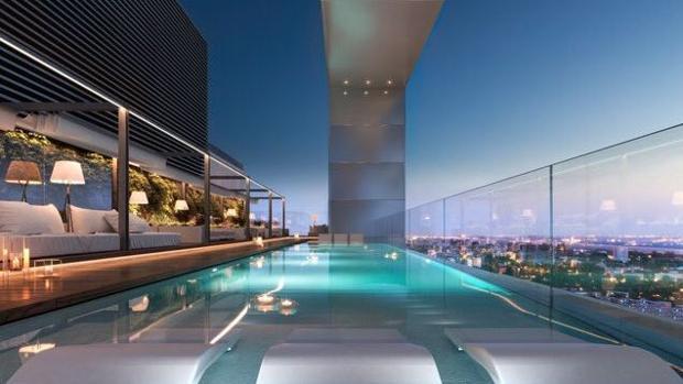 Imagen de cómo será la piscina de la azotea de una de las torres