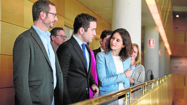 Díaz Ayuso, con Maroto y García-Egea en la Asamblea