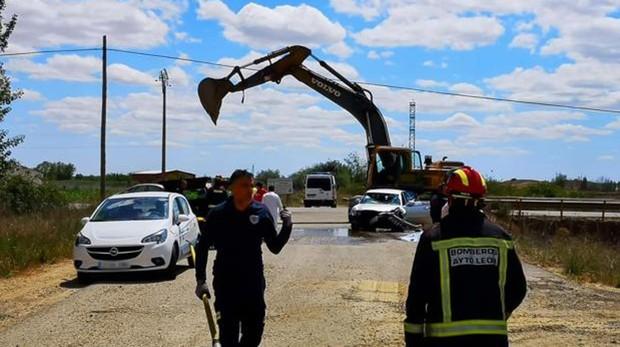 Accidente de tráfico en la localidad leonesa de San Millán de los Caballeros en el que han fallecido dos personas