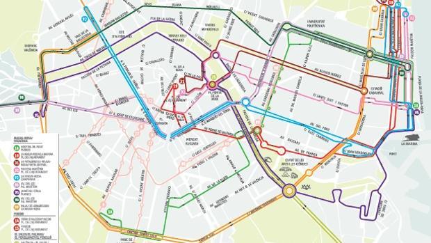 Plano de los itinerarios de verano de la EMT en Valencia