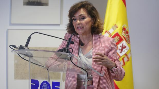 Carmen Calvo, durante su intervención en el acto de presentación de la nueva web del BOE