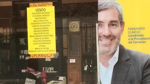 Escaparate el 16 de julio de la sede electoral de CC en Las Palmas capital