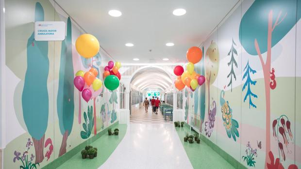 Pasillos decorados con plantas en el Hospital Niño Jesús