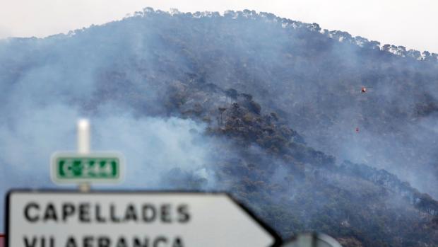 Imagen del incendio forestal que se ha declarado esta tarde en Capellades (Barcelona)