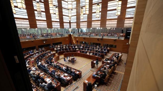 Imagen del hemiciclo de la Asamblea durante la intervención de Díaz Ayuso