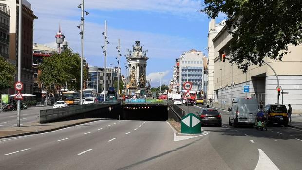Imagen del túnel de Plaza de Espanya, ubicado en el barrio de Sants