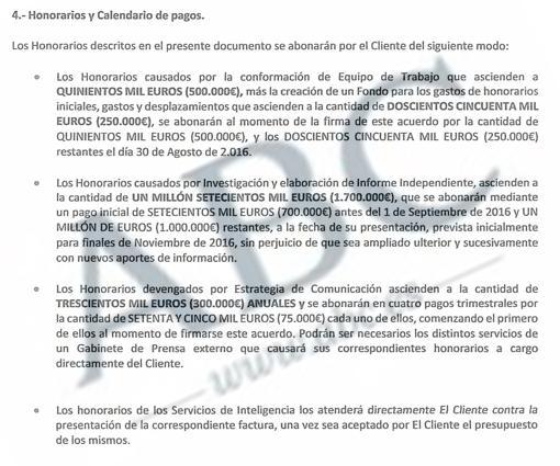 Parte del contrato que recoge los honorarios pactados