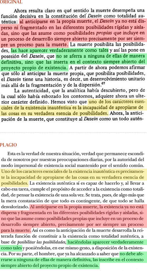 Plagio del libro de Cruz (pág. 193) a «Introducción a Heidegger», de Vattimo (Págs. 50-51)