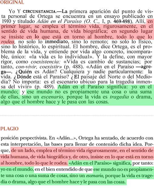 Página 436 del libro de Julián Marías de 1941 y página 421 de la obra de Cruz de 2002