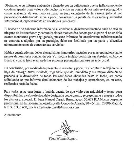 Segunda página de la carta remitida por Ruperti a Garzón y firmada ante notario