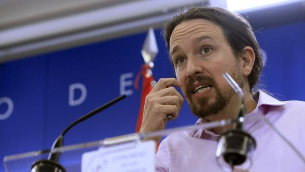 El líder de Unidas Podemos Pablo Iglesias, durante la rueda de prensa celebrada este martes en el Congreso