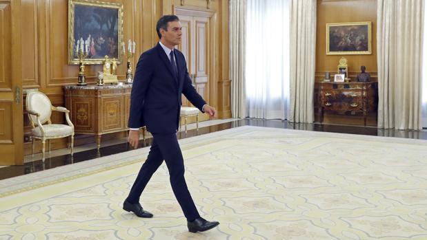 El presidente del Gobierno en funciones, Pedro Sánchez, ayer en La Zarzuela