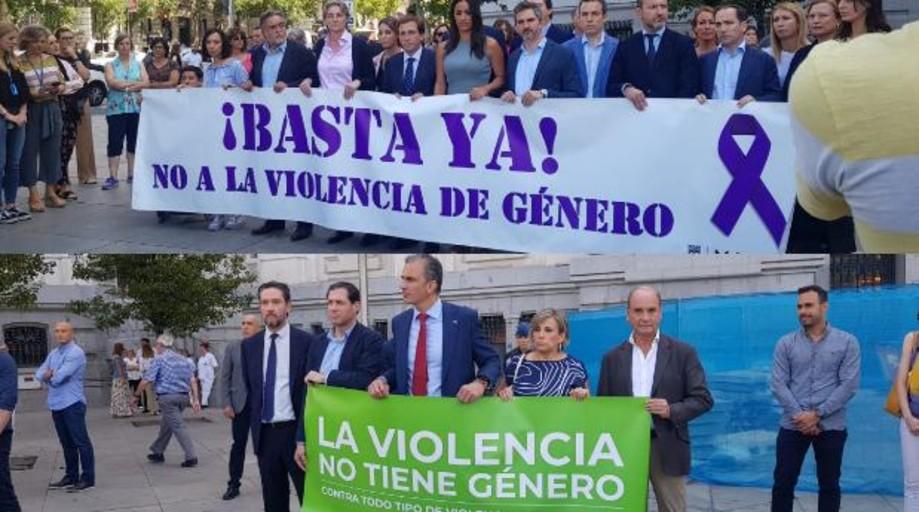 Resultado de imagen de Almeida se enfrenta a Vox por presentarse en el minuto de silencio con pancarta que niega la violencia machista