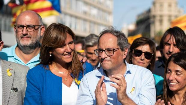 Quim Torra, presidente de la Generalidad, junto a Laura Borràs, portavoz de JpCAT