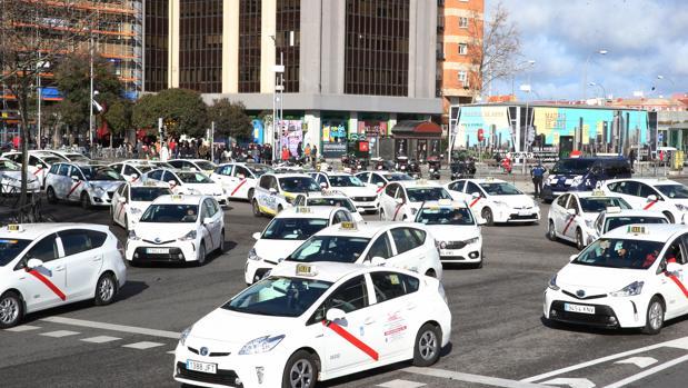 Taxistas de Madrid, durante una protesta