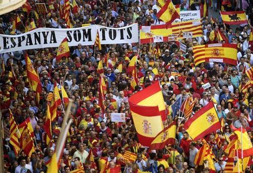Manifestación constitucionalista en Barcelona