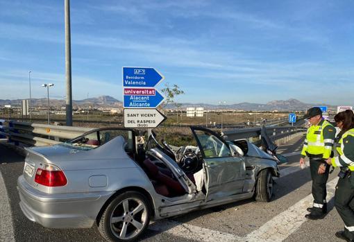 Lugar del accidente mortal, en los accesos a Alicante