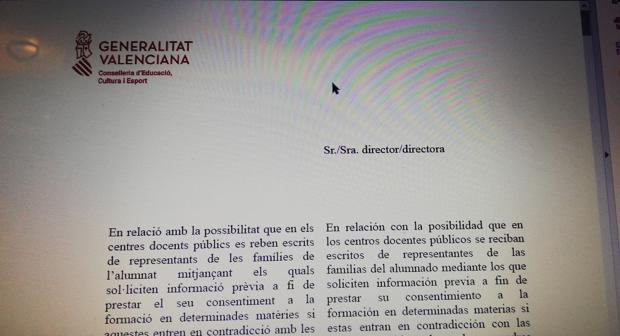 La carta «anti Vox» del Gobierno valenciano a los directores de los colegios...