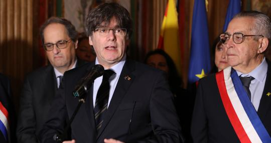 Quim Torra y Carles Puigdemont, este sábado en Perpiñán