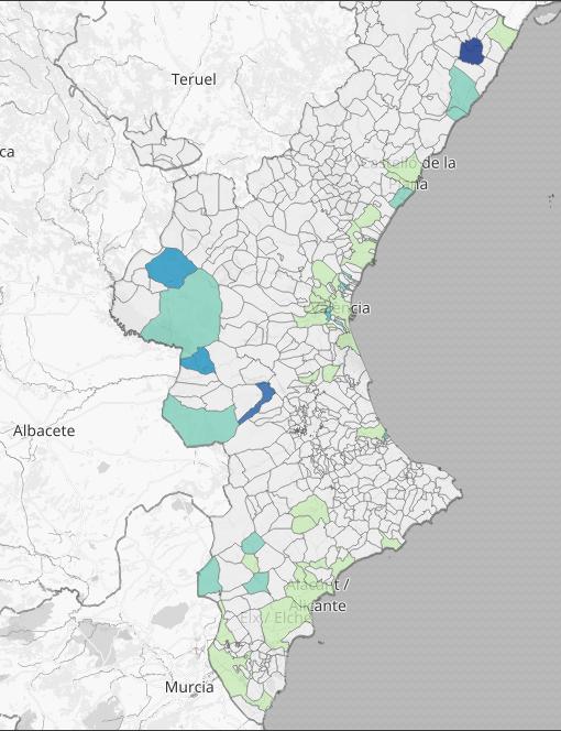 Mapa de positivos en los últimos 14 días en la Comunidad Valenciana