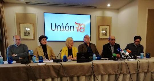 Rosa Díez (tercera por la izquierda), en febrero, durante la presentación de «Unión 78»