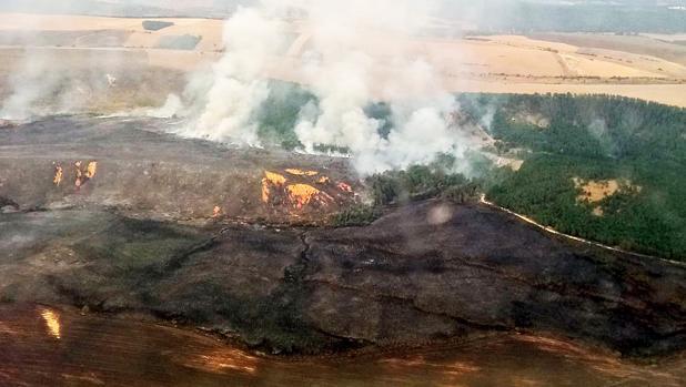 Medios aéreos y terrestres trabajan en la extinción de un incendio forestal...