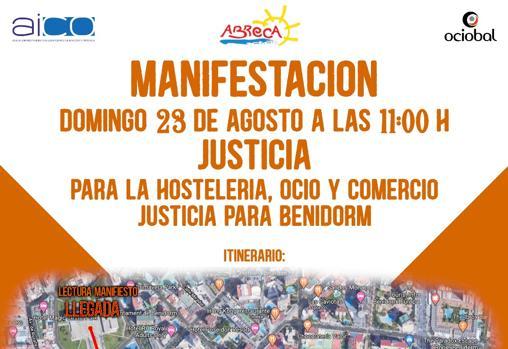 Cartel informativo de la manifestación del domingo en Benidorm