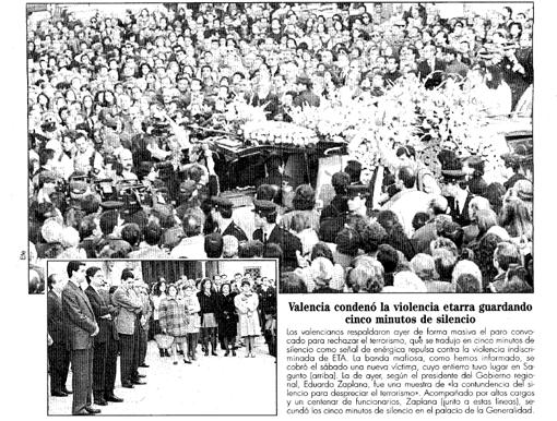 Recorte de la edición de ABC del 19 de diciembre del 1995 sobre las concentraciones en repulsa del terrorismo en Valencia