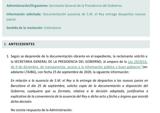 Resolución estimatoria del CTBG a la solicitud de información de ABC