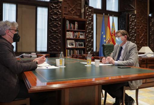 Imagen del presidente de la Generalitat, Ximo Puig, y el comisionado de salud mental, Rafael Tabarés