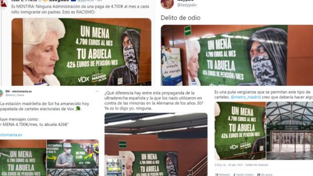 La Fiscalía investiga el polémico cartel de Vox contra los menas en la estación de Renfe de Sol