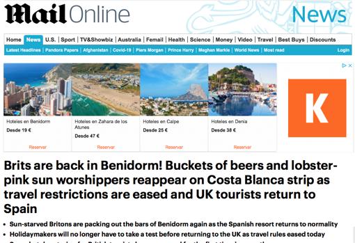 Reportaje en el Daily Mail Online sobre el retorno del turismo británico a Benidorm