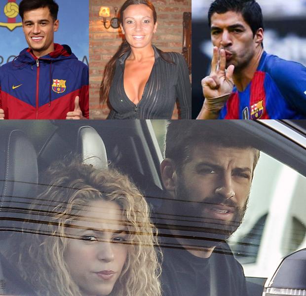 Philippe Coutinho, Sonia Monroy, Luis Súarez y Shakira y Piqué