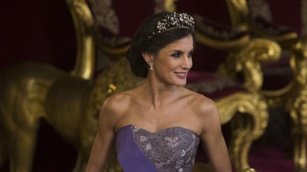La Reina Letizia, durante la cena de gala este miércoles