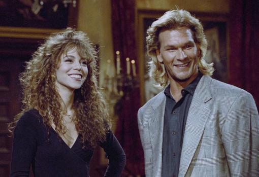 Mariah Carey junto a su buen amigo Patrick Swayze en una imagen de 1995