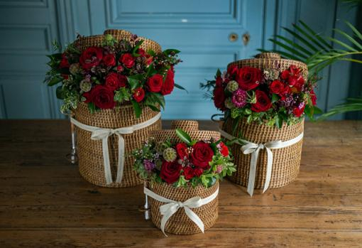 Rattan Baskets with Flowers by Sally Hambleton
