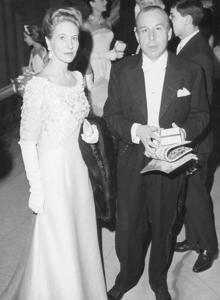 Marie Blance, Countess of Polignac, with the designer, at the Paris Opera in 1962