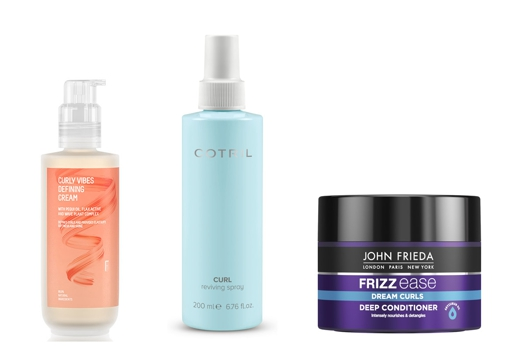 From left to right: Curl Vibes Defining Cream by Freshly Cosmetics (€ 15);  Curl Reviving Spray for curls Cotril Spray (€ 25.55);  and John Frieda Frizz Ease Dream Curls Deep Hydration Mask (€ 9.10).