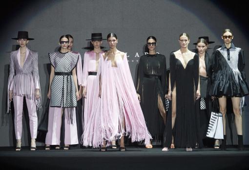 Models during the Fernando Claro fall / winter 2021-22 fashion show