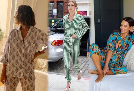 Tamara Falcó, Gigi Hadid and Paula Echevarría with pajamas