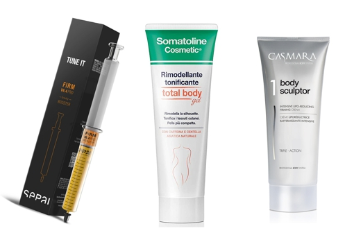 From left to right: Sepai V6.4 Booster Firming Pro (€ 69);  Somatoline Total Body Gel firming body cream (€ 26.27);  Casmara Body Sculptor 3-in-1 Firming Cream (€ 39.78).