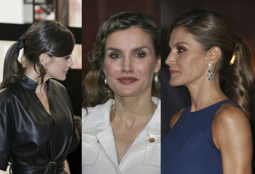 The Queen with ponytail and black bow, loose hair with mini braid and ponytail, her favorite hairstyle.