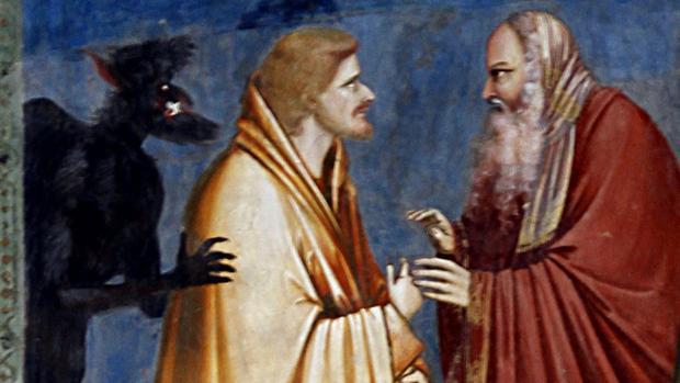 Judas Iscariote, de amarillo, recibiendo la paga por la Traición. Fresco de Giotto di Bondone,