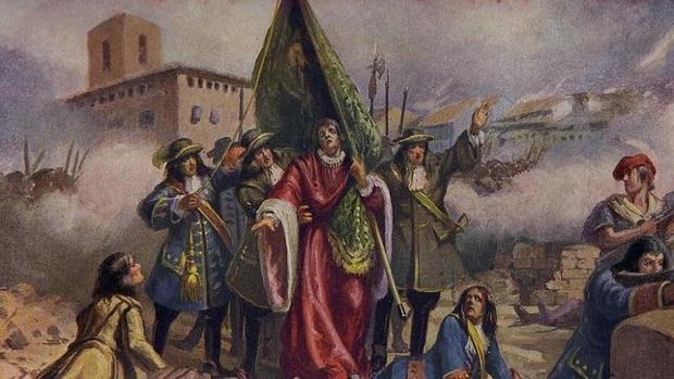 Representación pictórica de Rafael Casanova en la defensa de Barcelona