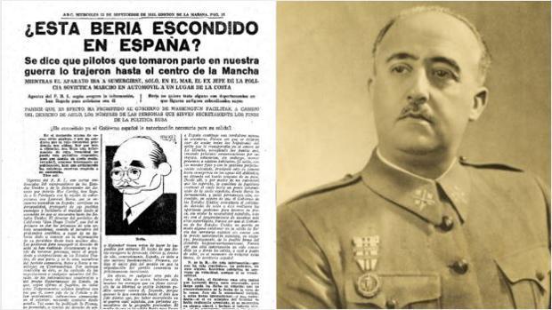 El artículo que provocó la destitución de Torcuato Luca de Tena y Brunet, junto a la imagen de Franco
