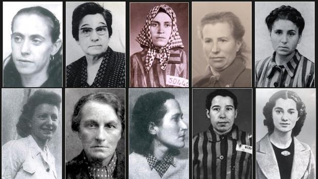 Fotografías de algunas mujeres deportadas a Ravensbrück. La mujer que aparece de perfil en una posición central de la fila de abajo, es Mercedes Núñez Targa - Asociación Amical de Ravensbrück