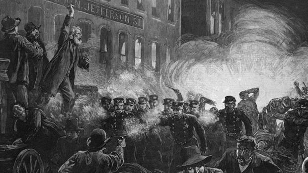 Ilustración de los enfrentamientos de Chicaco, el 1 de mayo de 1886